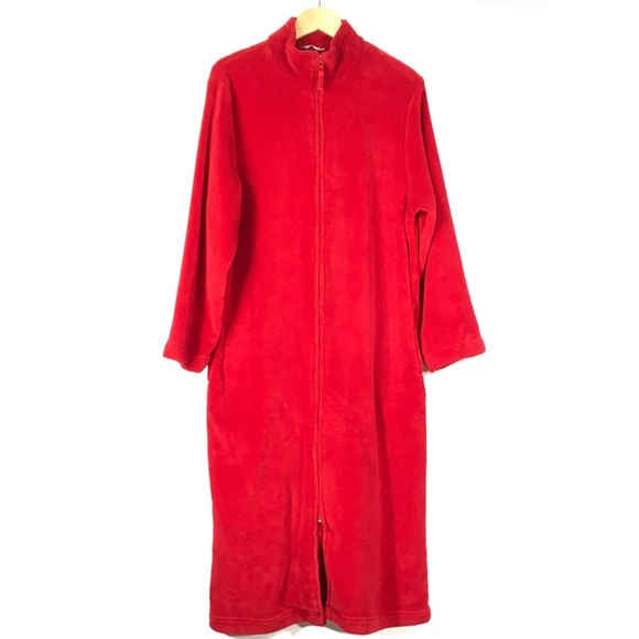 Adonna Other - Adonna Red Plush Zip Front Robe House Coat